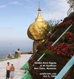 Kyaiktiyo (Golden Rock) Pagoda, 3600 ft high Mt Kyaiktiyo.Asiahomes.com