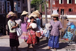 Myanmar. Villagers selling hats. Patronise them. Lake Inle, Boat jetty. Oct 2008. Asiahomes.com Travels and Tours