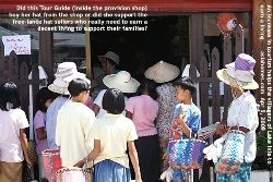 Myanmar Tour Guide buying provisions. Shop at Lake Inle jetty.  Asiahomes.com Travels and Tours