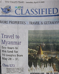 Singapore Straits Times Advertisement. Myanmar Ecotourism. Asiahomes.com